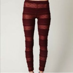 Free People Burgandy Pucker Ruffle Lace Leggings